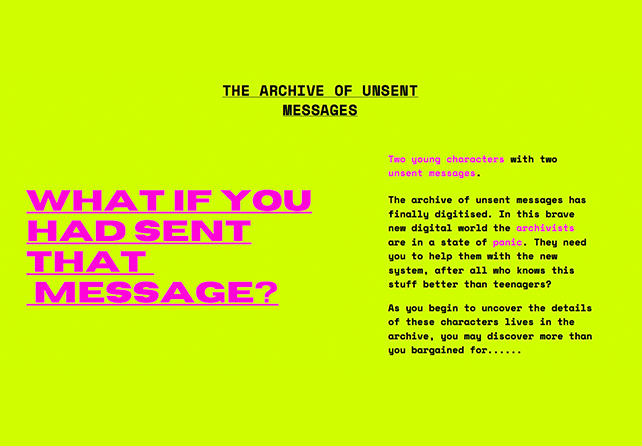A lime green background with vivid pink text that reads: What if you had sent that message?