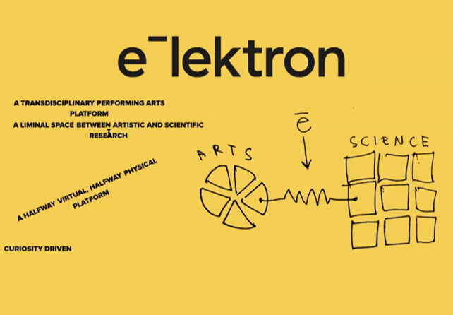A yelolow slide with a hand-drawn diagram showing a pie chart with the label 'arts' and a square with the label 'science'. The Elektron logo is positioned between the two.