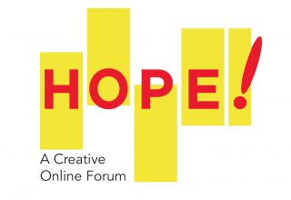 HOPE! Creative Forum logo. Five unevenly positioned yellow rectangles with red letters that spell HOPE! positioned through the middle of them.