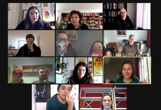 A screenshot of a videocall with 11 people.